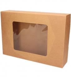 photo of Cateringdoos met venster 55cm x 37.6cm x 8cm bruin kraft