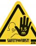 photo of Waarschuwingssticker Houd afstand hand geel-zwart