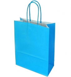photo of Draagtas papier 18cm x 8cm x 22cm lichtblauw onbedrukt gebleekt kraft 90gr / m2