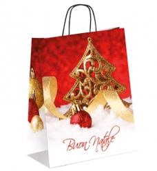 photo of Kerstdraagtas papier 32cm x 13cm x 42.5cm rood  kerstboom gecoat papier 130gr / m2