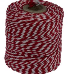 photo of Touw katoen 45meter 50gr rood/wit