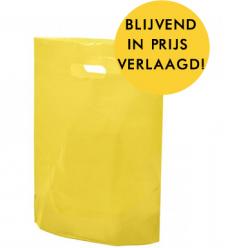 photo of Plastic draagtas gestanst handvat 38cm x 44cm geel onbedrukt ldpe 50µm