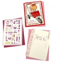 photo of Wenskaart Paperclip navulset geboorte dochter set à 6 kaarten