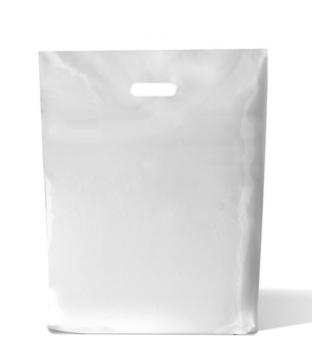 Plastic draagtas gestanst handvat 37cm x 44cm wit onbedrukt ldpe 50µm Product image