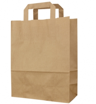 Draagtas papier 45cm x 17cm x 47cm bruin onbedrukt effen bruin 100gr / m2 Product image