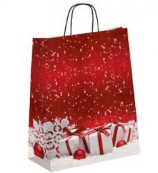 photo of Kerstdraagtas papier 32cm x 13cm x 42.5cm rood kerstpakjes gecoat papier 130gr / m2