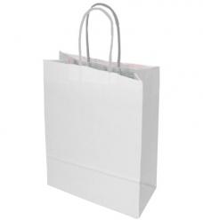 photo of Draagtas papier 18cm x 8cm x 22cm wit onbedrukt gebleekt kraft 90gr / m2