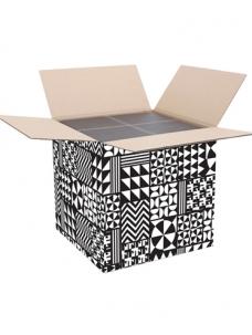 photo of Pakketdoos vierkant 38.5cm x 38.5cm x 38.5cm zwart/wit black&white