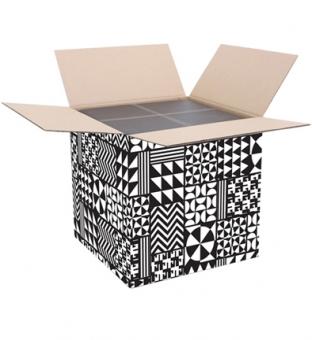 Pakketdoos vierkant 38.5cm x 38.5cm x 38.5cm zwart/wit black&white  Product image