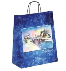 photo of Kerstdraagtas papier 32cm x 13cm x 42.5cm blauw kerstbrug gecoat papier 130gr / m2
