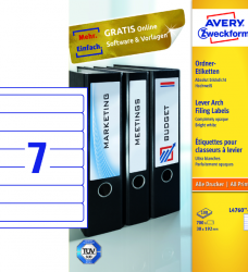 photo of Rugetiket Avery smal 38x192mm zelfklevend wit